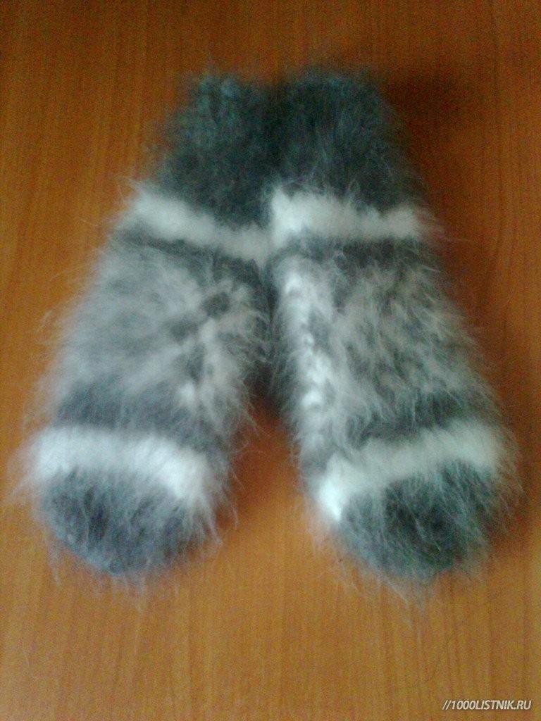 варежки из кроличьего пуха