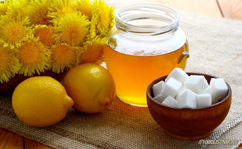Мед, лимоны, сахар, одуванчики для приготовления меда