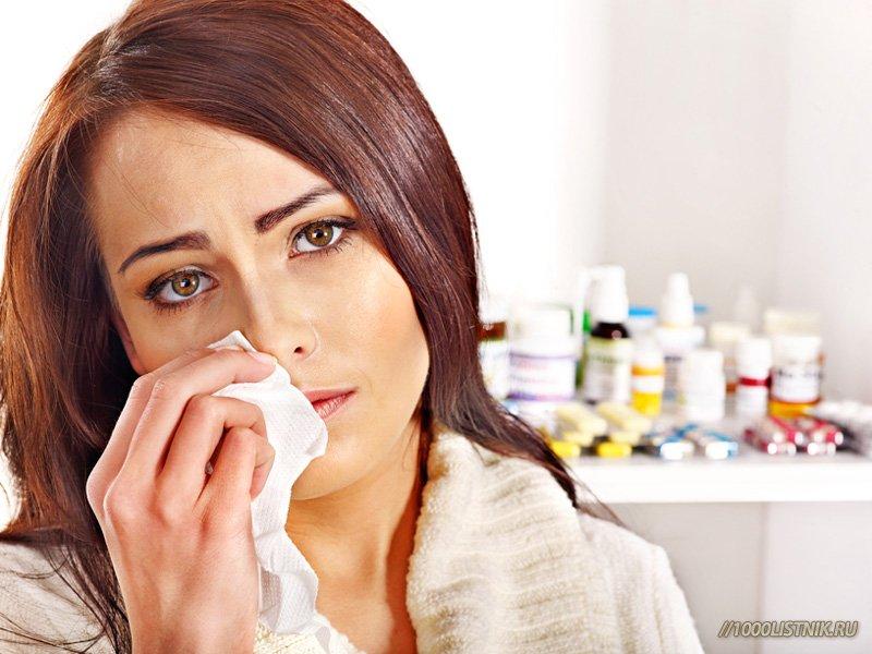 У женщины заложенность носа