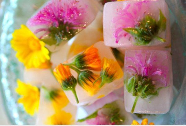 Косметический лёд из календулы и других цветов