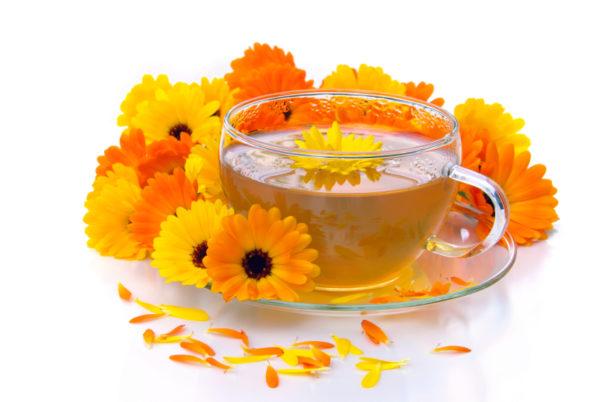 Отвар календулы в чашке и цветы