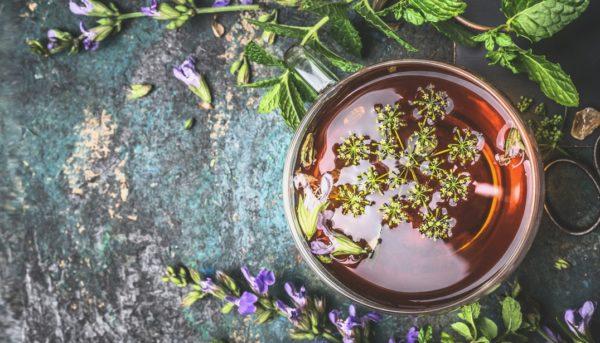 Травяной чай в чашке