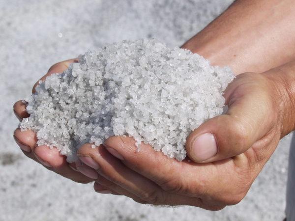 Морская соль в ладонях человека