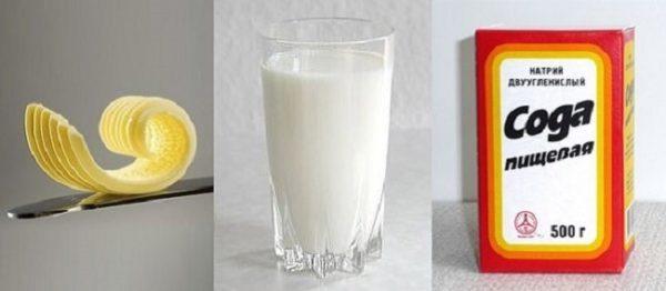 Сода с молоком и маслом
