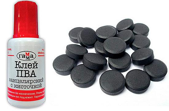Клей ПВА и активированный уголь