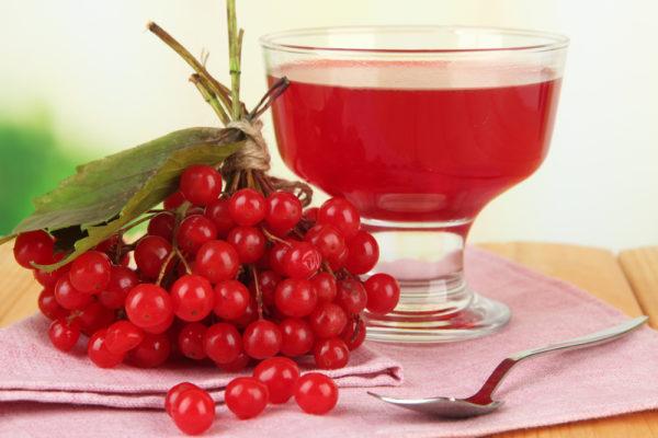 Сок калины в фужере и ягоды