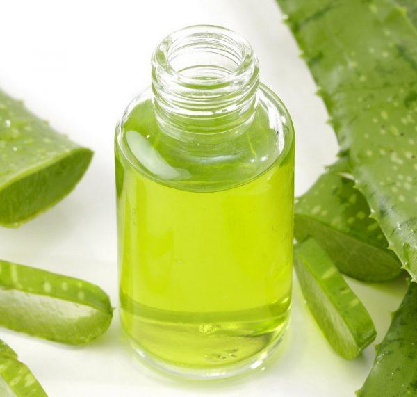 Прозрачный стеклянный бутылёк с соком алоэ среди листьев растения